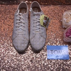 TOMS Lace Off White Mesh Up Sneakers